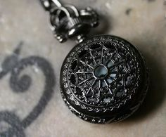 gunmetal pocket watch necklace