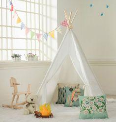 Cotton Canvas Little dove Kids Teepee Children Play Tent with Floor Mat /& Carry Case for Indoor Outdoor