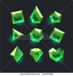 Set of cartoon green different shapes crystals,gemstones,gems,diamonds vector gui assets collection for game design.isolated vector elements.Gui elements, vector games assets.menu for mobile games - stock vector