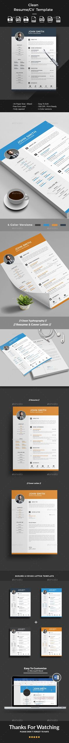 Professional Resume Template Cover Letter for MS Word Creative