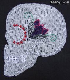 Dia de la Abby #67: Embroidered Skull Ornament
