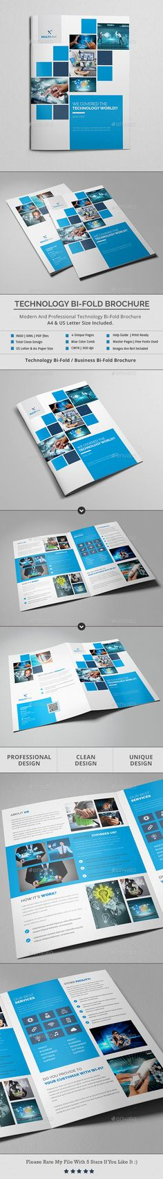 Technology Bi-Fold Brochure Template InDesign INDD