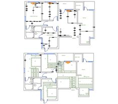 House Layout Plan With Power Supply Line Diagram DWG File