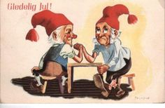 Thorsrud st Notodden 1945 B&R serieT nr 1453 Christmas Cards, Christmas Postcards, Gnomes, Leprechaun, Goblin, Vintage Cards, Norway, Disney Characters, Fictional Characters