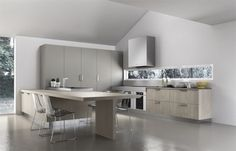 Pale Gray Larder Units Among Modern Kitchen Design Ideas Used Minimalist With Small Seating Furniture as Home Inspiration To Your House