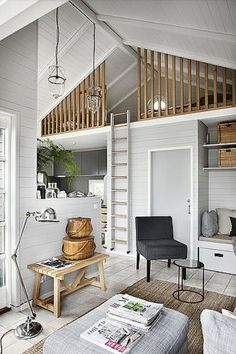 home decor for small spaces I like the rails on this loft Icelandic Curiosity Continues More Spaces!~my head space - home decorating, interior design amp; Tiny House Living, Home Living Room, Small Living, Living Spaces, Living Area, Kitchen Living, Small Cottage Interiors, Coastal Cottage, Summer House Interiors