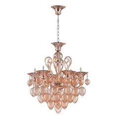 Bella Vetro 6 Light Pale Blush Murano Style Glass Chandelier. #kathykuohome #lighting #chandelier
