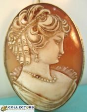 Antique Vintage Victorian 18K Yellow Gold Shell Cameo Brooch Pin Large Pendant