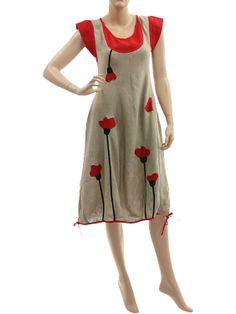 Lovely artsy boho linen dress with poppy flowers in natural red - Artikeldetailansicht - CLASSYDRESS Lagenlook Art to Wear Women's Clothing