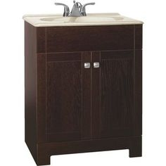 The Sedona vanity combo offers modern styling in a dark java oak finish. Flat panel shaker inspired slab doors add to the overall furniture ...