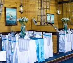 Enchant your guests with a sea inspired table setting and get some amazing ideas for your beach themed party or wedding. Turquoise, white and navy blue