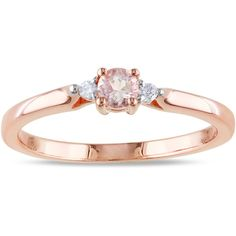 Miadora Rose Plated Silver Morganite and Diamond Ring ($54) ❤ liked on Polyvore featuring jewelry, rings, pink, wide-band rings, pink ring, round diamond ring, diamond rings and silver diamond rings