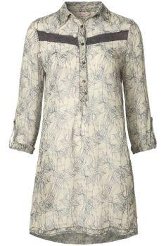 Tuniek blouse met sketch print Ecru