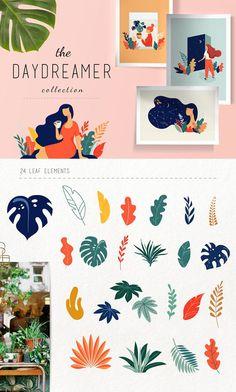 The Daydreamer collection Web Design, Blog Design, Portfolio Design, Plant Illustration, Watercolor Illustration, Graphic Illustration, Grafik Design, Surface Pattern Design, Layout