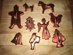 Vintage Mirro Copper Aluminum Holiday Christmas and Animal Cookie Cutters 9 Pcs | eBay