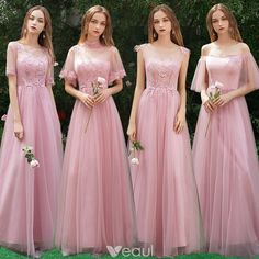 Affordable Candy Pink Bridesmaid Dresses 2019 A-Line / Princess Appliques Lace Floor-Length / Long Ruffle Wedding Party Dresses - Affordable Candy Pink Bridesmaid Dresses 2019 A-Line / Princess Appliques Lace Floor-Length / Long - Beach Wedding Bridesmaid Dresses, Burgundy Bridesmaid Dresses Long, Bridesmade Dresses, Mismatched Bridesmaid Dresses, Evening Dresses For Weddings, Pink Prom Dresses, Wedding Party Dresses, Lace Bridesmaids, Rose Bonbon