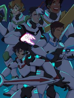 Shiro, Pidge, Hunk, Lance and Keith the Paladins of Voltron from Voltron Legendary Defender