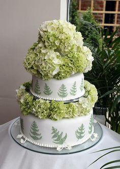 Green Hydrangea Wedding Cake