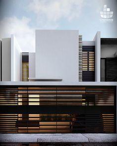 Colinas 17 on Behance Front Gate Design, Main Gate Design, Door Gate Design, House Gate Design, Gate Designs Modern, Modern Villa Design, Design Exterior, Facade Design, Residential Architecture