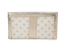 """Neelum White & Gold  Hand-woven Silk and Platinum Leather Top Zip Clutch. 13"""" x 7.75"""" $300 Available at www.islyhandbags.com #clutchit #accessories #handbags"""