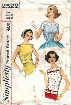 1950s Simplicity 2522 Vintage Sewing Pattern Misses Fitted