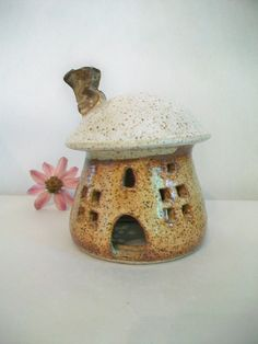 Toadstool/Fairy House/Night Light -Larger Size -  Handmade, Wheel Thrown