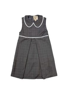 MeMini Thale Dress, Grey Checked, Grårutet finkjole til jente