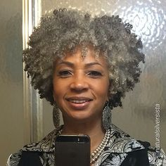 caramelblackness: fiftyshadesofmacygray: blacknaturals: ♕ Did she take a mirror selfie? Omg, I'm so happy, she's so cute. I look forward to a gray afro when I get older! Pelo Natural, Natural Hair Care, Natural Hair Styles, Natural Beauty, Natural Curls, Pelo Afro, Ageless Beauty, Natural Hair Inspiration, Hair Journey