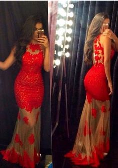 Red Lace Elegant Modest Evening Gowns,Simple Party Gowns,Lace Prom Dress