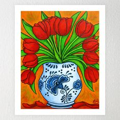 Vibrant Red Tulips in a Dutch Vase painted in a creative, stylish composition.