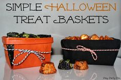Simple Halloween treat baskets