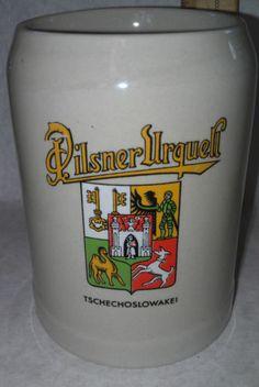Pilsner Urquell Gerz Beer Stein Mug Extra Large Holds .5 L Vintage