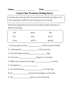 Context Clues: Word Sleuth | Context clues, Worksheets and Third