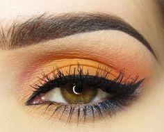 Orange eyeshadow on hazel eyes