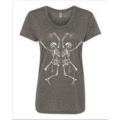 Womens Dancing Skeletons Bohemian Slouchy T Shirt Screen Print Top... ($27) ❤ liked on Polyvore featuring tops, t-shirts, grey, women's clothing, gray shirt, boho shirts, burnout t shirt, vintage style t shirts and screen print shirts
