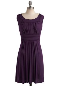 I Love Your Dress in Plum - Jersey, Mid-length, Purple, Solid, Pleats, Ruching, Casual, Sleeveless