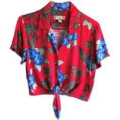 Vintage Caribbean Joe crop top tie red Hawaiian Shirt Size large... (97 BRL) ❤ liked on Polyvore featuring tops, shirts, red top, tie crop top, short sleeve tops, vintage hawaiian shirts and long-sleeve crop tops