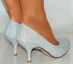 Silver Kitten Heel Court Shoes