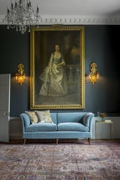 The high back Pompadour Sofa in Casaleone Mohair - Cambridge Blue paired with our gorgeous Ariana hand embroidered couture cushions