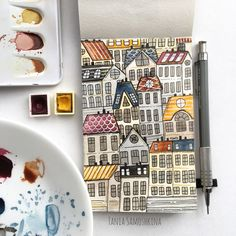 Painting Watercolor City Watercolour 54 Ideas For 2019 Gouache Painting, Painting & Drawing, Watercolor Paintings, Watercolor City, Watercolor Illustration, Watercolor Sketch, Doodle Drawings, Doodle Art, Moleskine Art