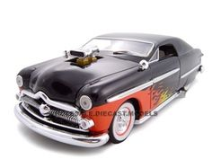 1949 Ford Diecast Car 1/24 With 460 Engine Blower Black Diecast Car Model by Unique Replicas