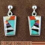 Multicolor Inlay Southwestern Sterling Silver Earrings