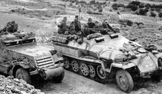 "Afrika Korps in Tunisia. The vehicle on the left is a captured American M3 Halftrack (known as ""Gepanzerter Mannschaftstransportwagen M3 401(a)"" in German inventories)."