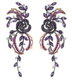 DAMIANI- Carmen collection  - White and pink Gold, Diamonds, Amethyst and pink Sapphires Earrings.
