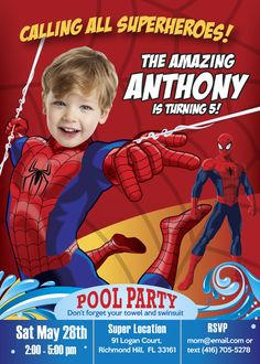 Pool Party Spiderman Birthday Invitation with your boy as Spiderman! Amazing Spiderman Invitation. Spiderman Pool Party. Spiderman summer. #SpidermanBirthday #SpidermanPoolParty #SpidermanInvitations #SpidermanPoolPartyInvitation #PoolPartySpiderman #PoolParty #myheroathome