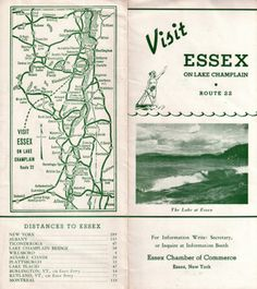 Vintage Brochure from the Essex Chamber of Commerce. Route 22, Lake Champlain, Chamber Of Commerce, Vintage, Vintage Comics