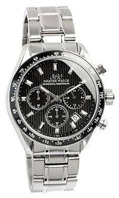 MASTER WATCH Mens Quartz Stainless Chrono Calendar Black Watch -- For more information, visit image link. (Note:Amazon affiliate link)