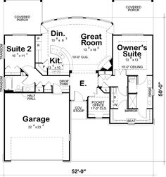 Contemporary Style House Plans - 1436 Square Foot Home , 1 Story, 2 Bedroom and 2 Bath, 2 Garage Stalls by Monster House Plans - Plan I love the layout for the master suite! House Plans One Story, Dream House Plans, Tiny House Plans, House Floor Plans, Unique Small House Plans, Unique Floor Plans, Open Concept Floor Plans, The Plan, How To Plan