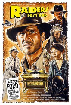 """Parece, de verdad, un poster de una película de serie B de los años 1940s (víajohnny-dynamo).  """"RAIDERS OF THE LOST ARK"""" (1981), poster illustrated by Blain Hefner."""