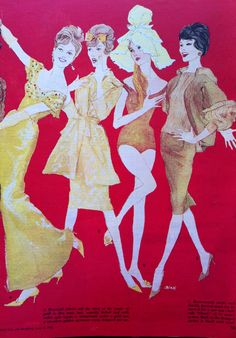 Fashion illustration 1958 vintage woman's day magazine